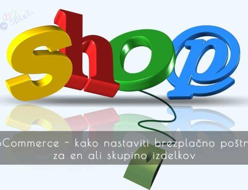 WooCommerce nastavitve brezplačne poštnine za en ali skupino izdelkov