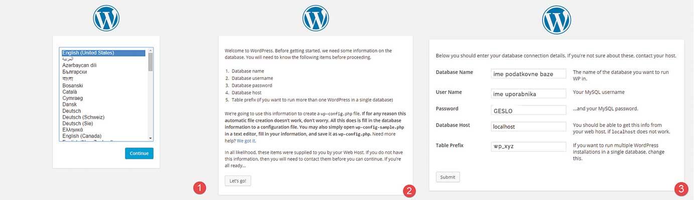 Zaženi namestitev WordPressa
